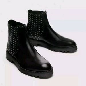 Zara | Black Leather Chelsea Boots with Studs